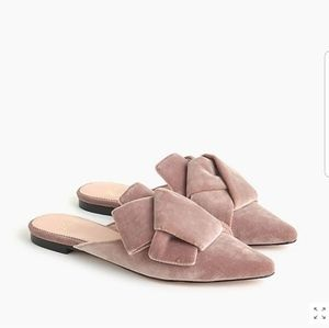 NWT J. Crew Velvet knotted top mules